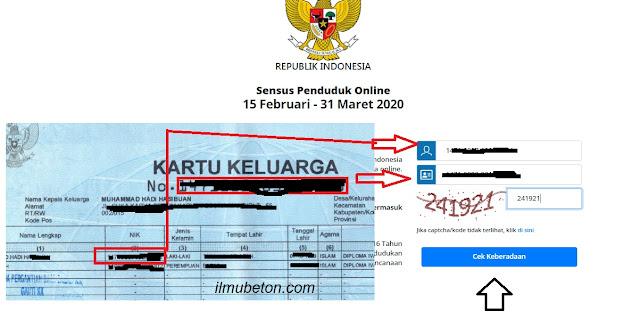 masukkan Nomor Induk Kependudukan (NIK) dan nomor Kartu Keluarga (KK)