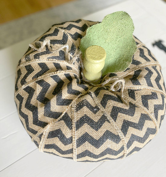 Chevron burlap pumpkin with leaf and stem