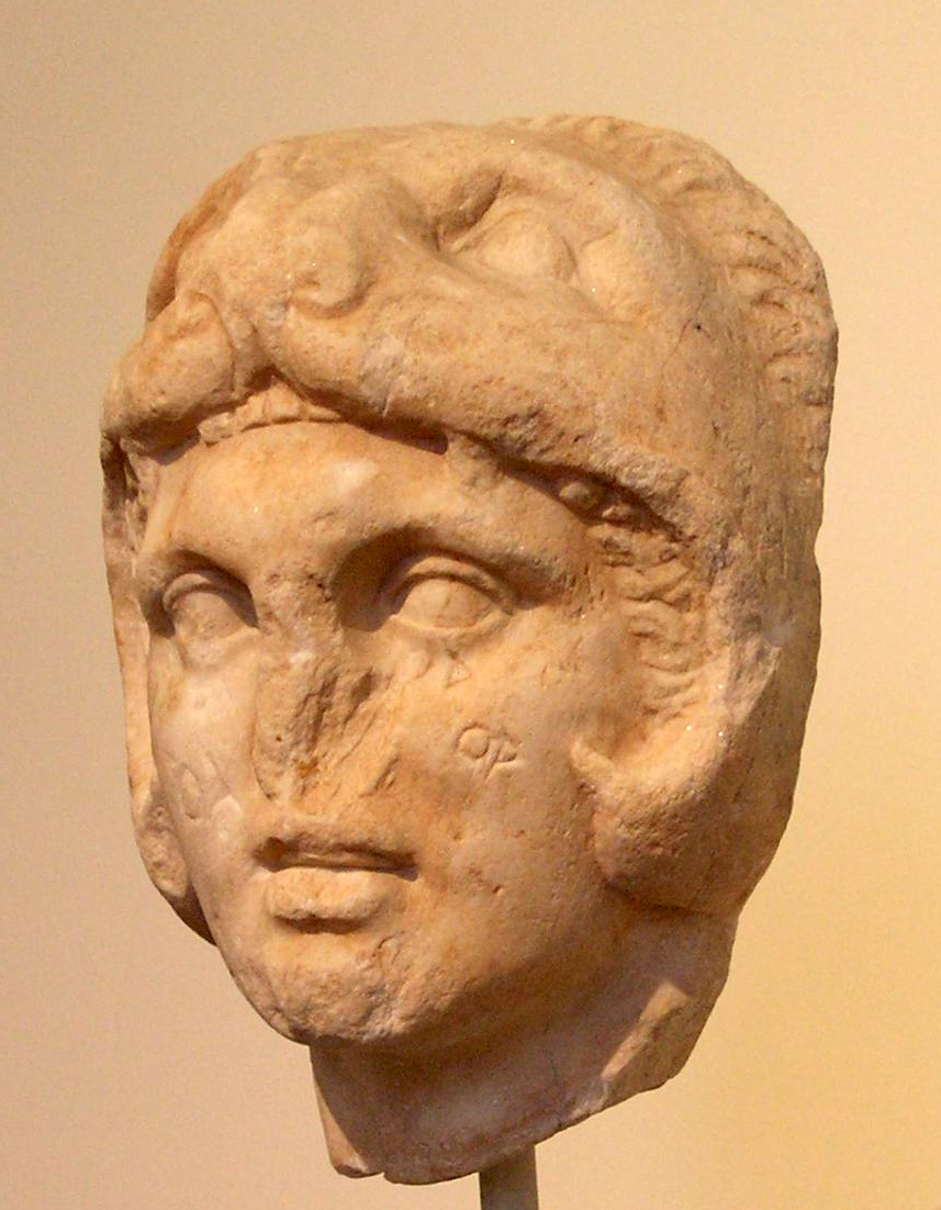 Alexander wearing the lion skin as his helmet, in imitation of Hercules