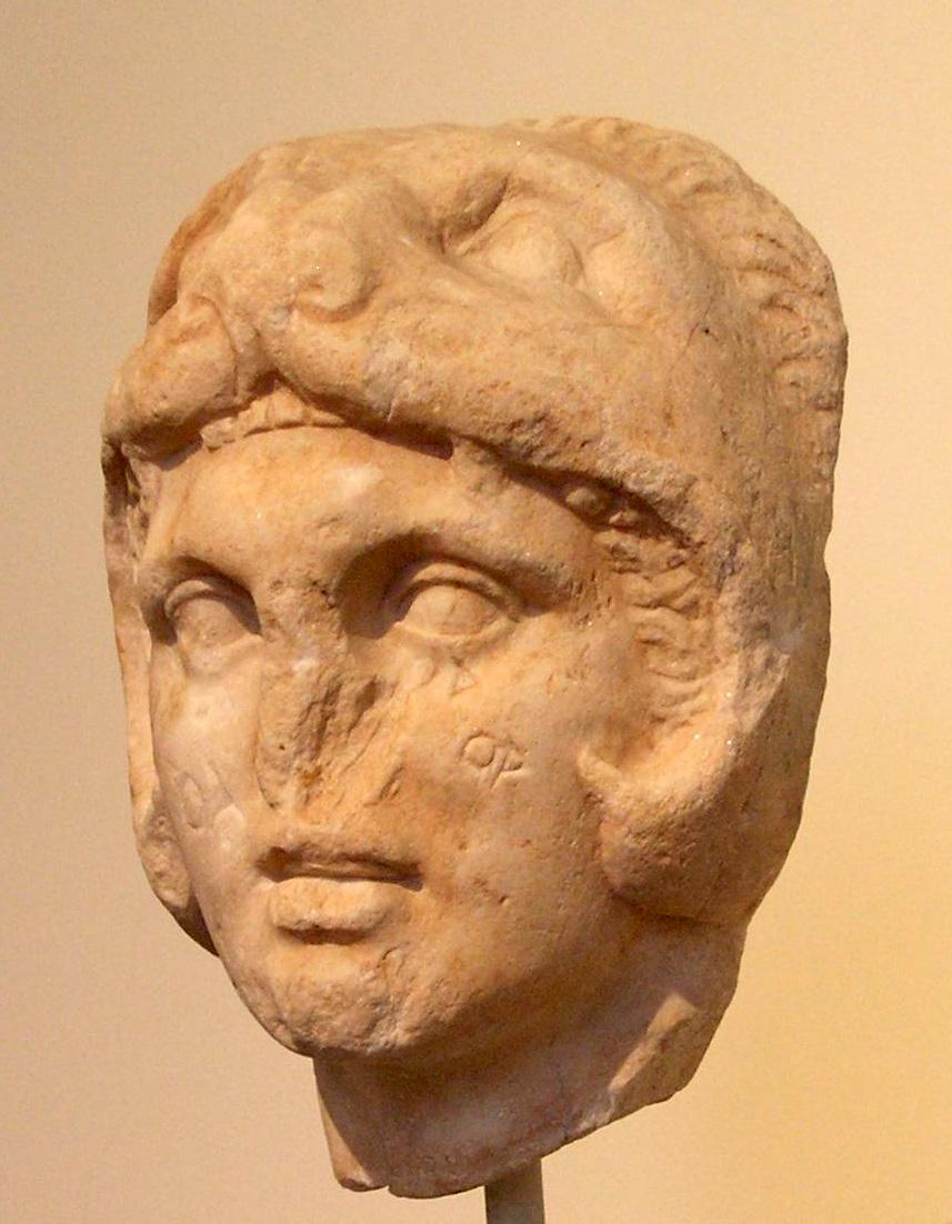 Alexander wearing the lion skin as his helmet, in imitation of Hercules