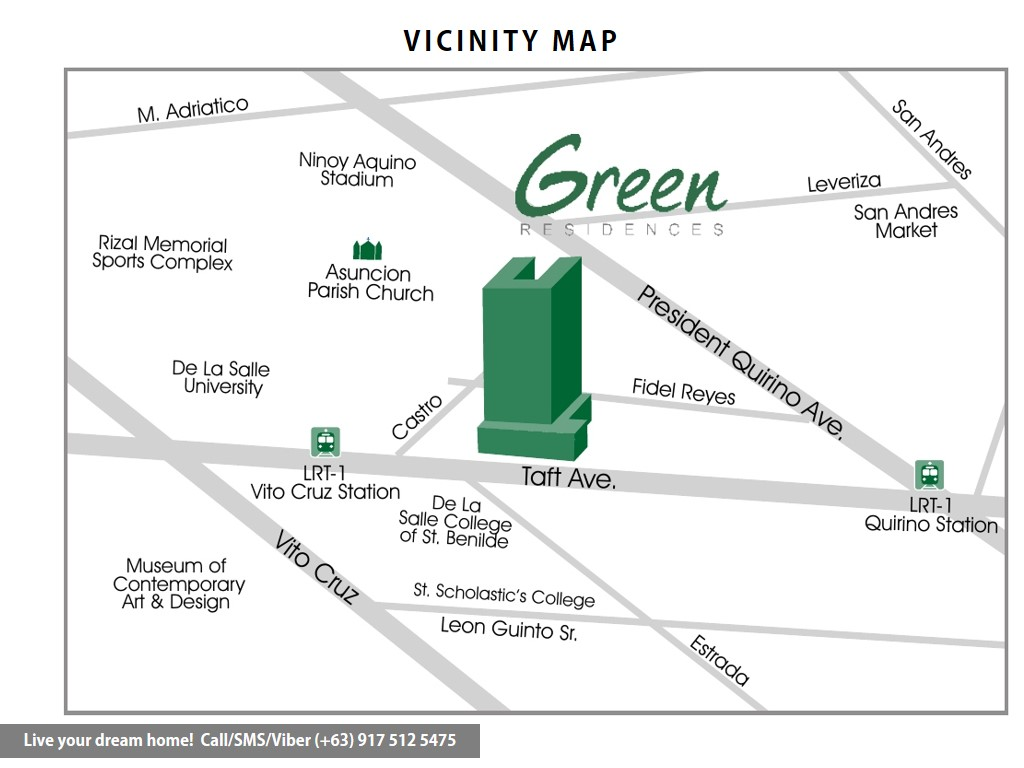 Vicinity Map - SMDC Green Residences - 1 Bedroom Deluxe With Balcony | Condominium for Sale Taft Malate Manila
