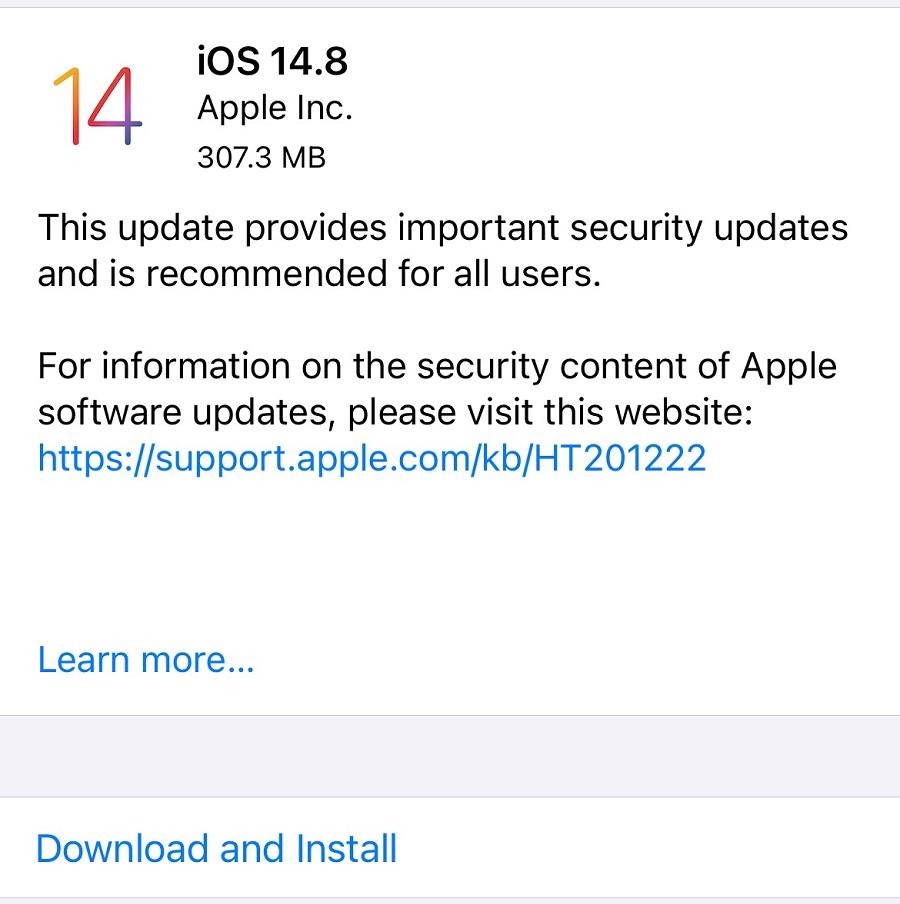 Apple iOS 14.8 Features