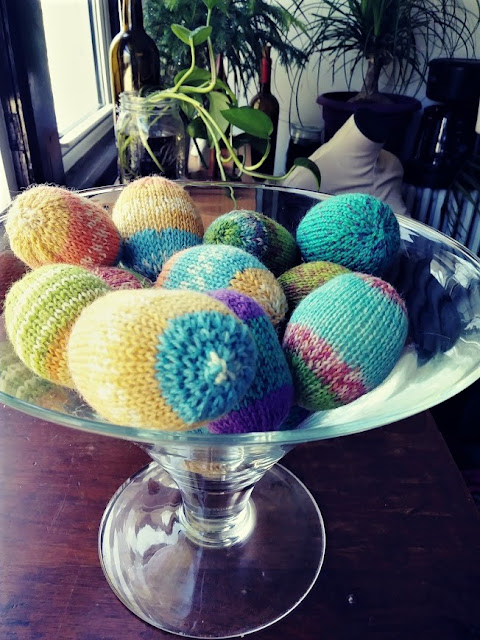 hand knit Easter eggs; decorative eggs knit with scrap yarn