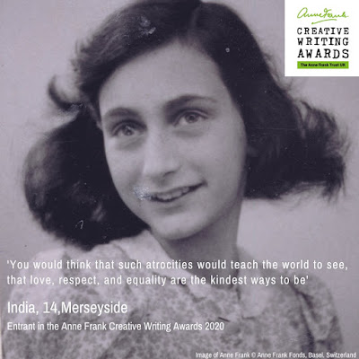 Anne Frank's 91st birthday Photo of Anne with words about equality and kindness