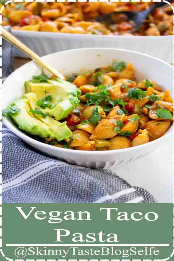 4.9 | ★★★★★ This Vegan Taco Pasta has all the flavor of traditional tacos, but in casserole form. This vegan dinner is packed with veggies, soyrizo and pasta shells  #thissavoryvegan #veganpasta #tacopasta #Vegan #Taco #Pasta