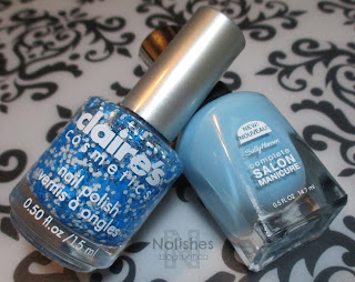 Sally Hansen Complete Salon Manicure -  'Sky's the Limit' (colour number 565), and Claire's Splatter Effect 'Flashing Lights'