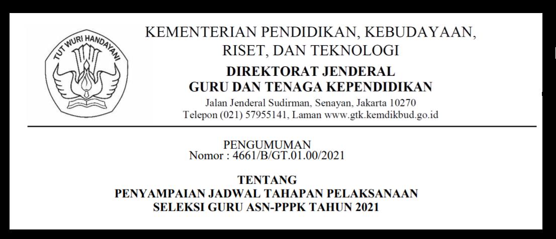 gambar jadwal seleksi kompetensi pppk guru asn 2021
