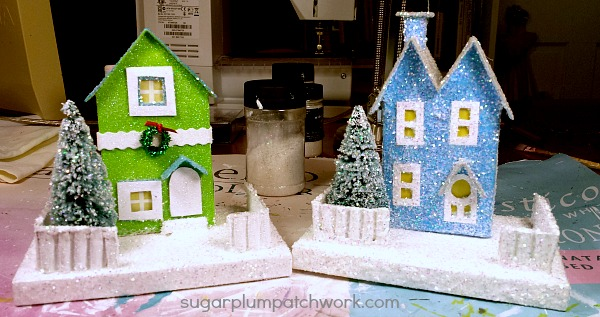 green and blue glitter houses
