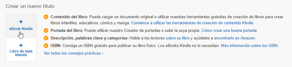 Publicar ebook kindle y tapa blanda Amazon KDP