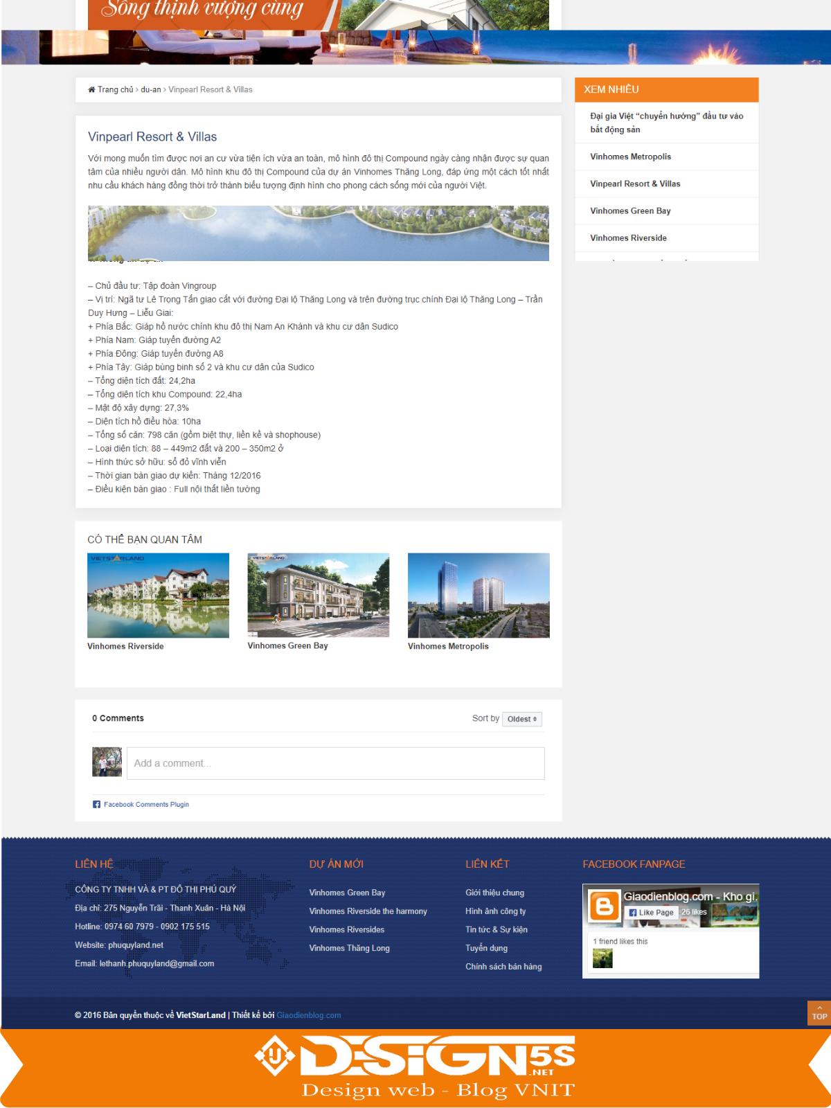 Mẫu website bất động sản Vietstarland Chuyên Nghiệp - Ảnh 2