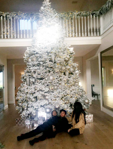 Kylie Jenner Kisses Tyga By Their Huge Christmas Tree