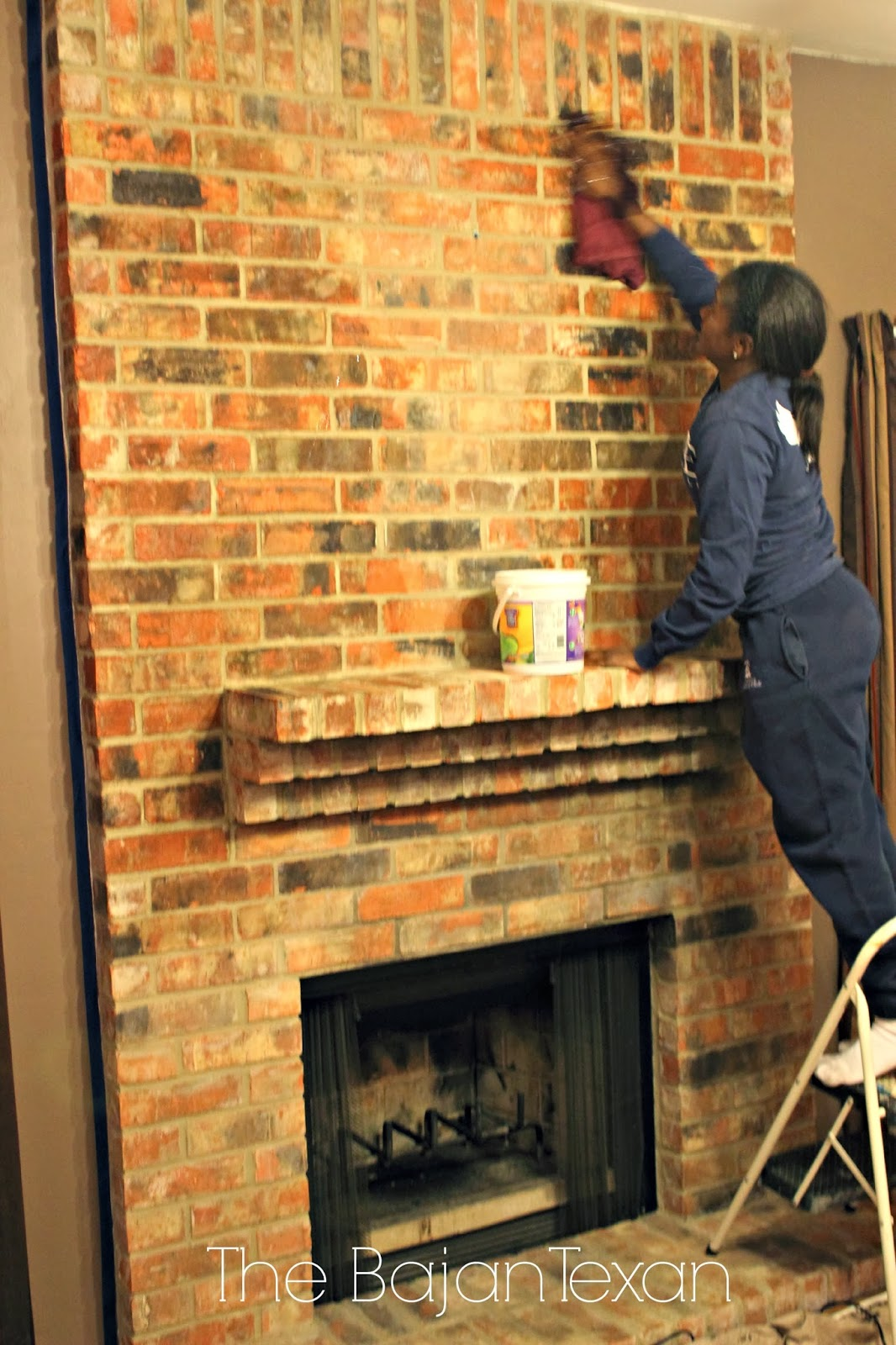 How To Paint A Brick Fireplace Youtube Clean Brick Fireplace