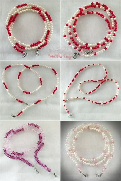 Artificial pearl and plastic beads face mask straps as necklace 60 cm