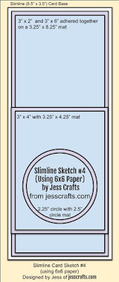 Card Sketch for Slimline from 6x6 Paper Template #3 by Jess Crafts