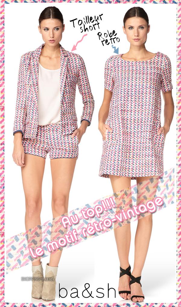 Robe et Tailleur Short motif rétro-vintage BA&SH