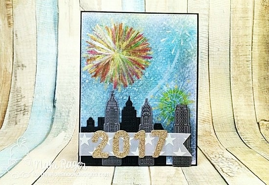 Happy New Year Card by Naki Rager + New Years Sale | Newton Dreams of New York stamp set by Newton's Nook Designs #newtonsnook