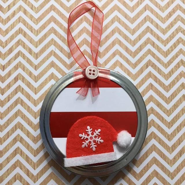 Homemade mason jar lid Christmas tree ornaments DIY holiday crafts
