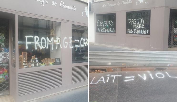 Photos - «Fromage = Carnage !», «Éleveurs = Voleurs !»: des commerces parisiens dans le viseur de militants vegans