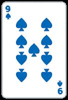 トランプのスペードのイラスト(数字・9)