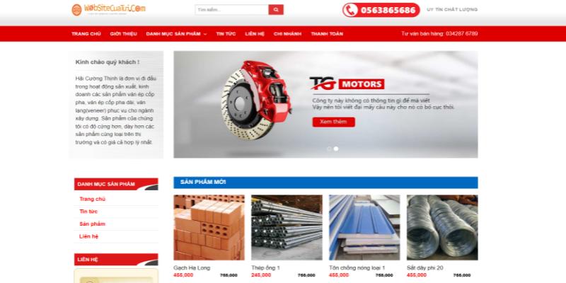 Mẫu website bán vật liệu xây dựng