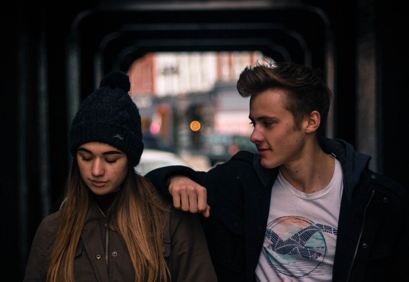 A guy staring on a girl