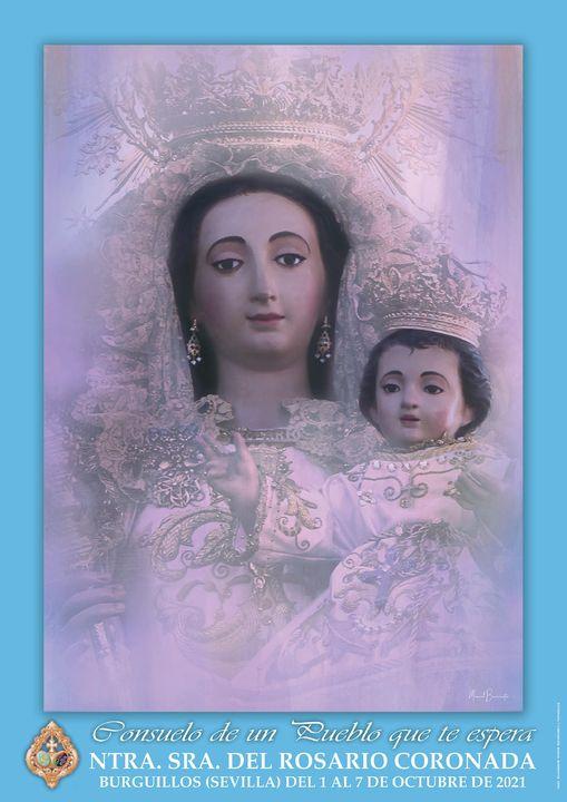 Cartel de la Patrona de Burguillos Virgen del Rosario Coronada 2021