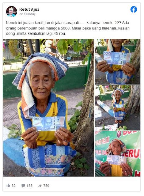 Miris! Nenek Penjual Mangga ini Dibayar Pakai Uang Mainan, Netizen: Kok Tega Ya