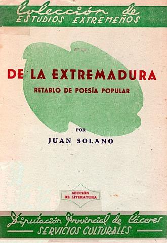 DE LA EXTREMADURA. RETABLO DE POESÍA POPULAR