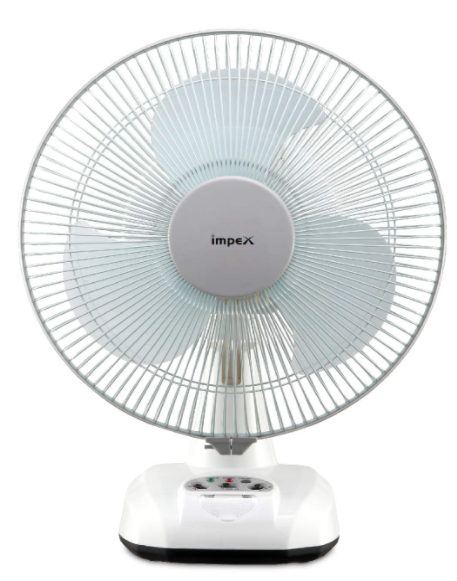 Impex BREEZE-D3 Rechargeable Table Fan with Dual Selection LED Light,3 Fan Speed Control, Solar Input Socket & 3 Blade Table Fan (2800 Rpm, White)