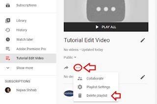 delete playlist youtube