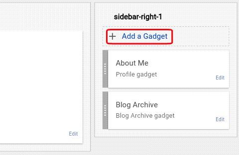click on add a gadget