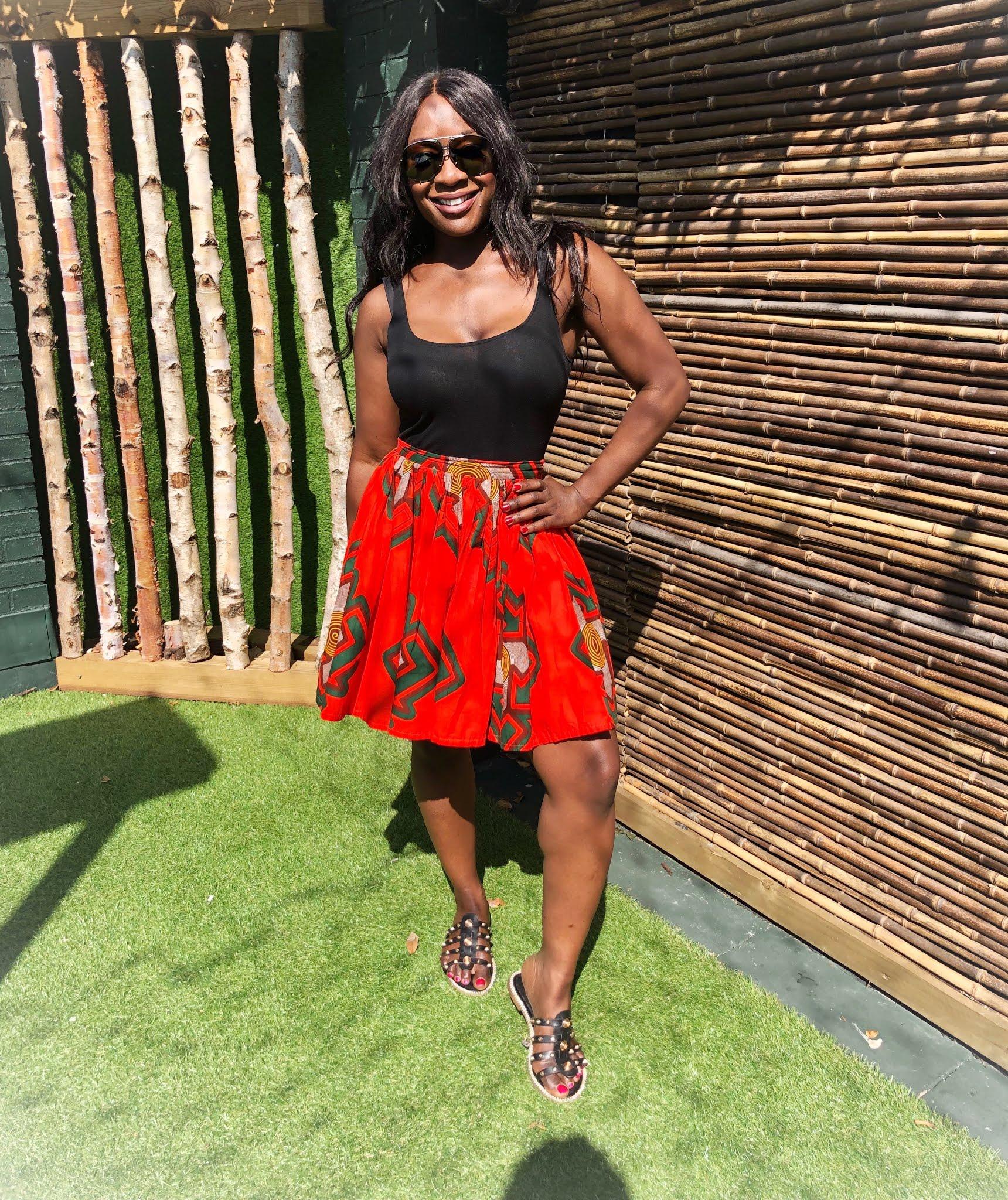 African Print Skater Style Skirt