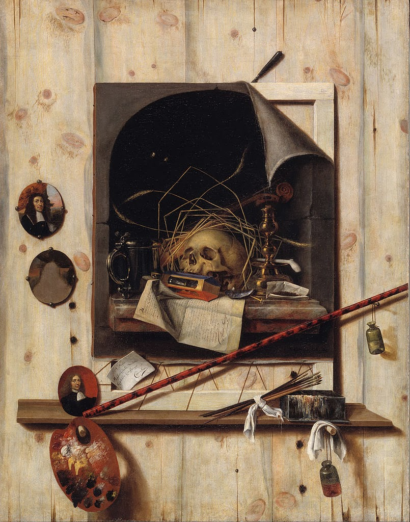 Trompe l'oeil with Studio Wall and Vanitas Still Life, 1668