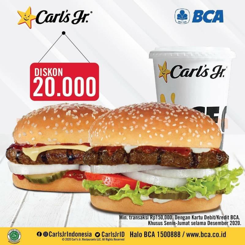 Carls Jr Promo Diskon Rp. 20.000 dengan Kartu Kredit /Debit BCA