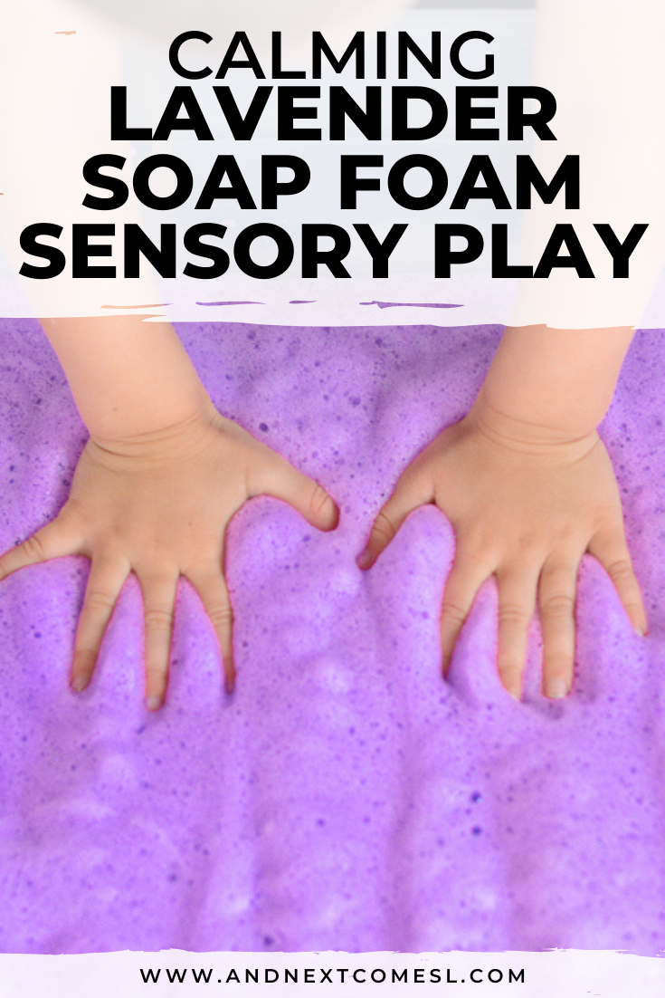 Looking for calming sensory activities? Try this simple lavender scented soap foam sensory bin for kids - great for toddlers and preschoolers!