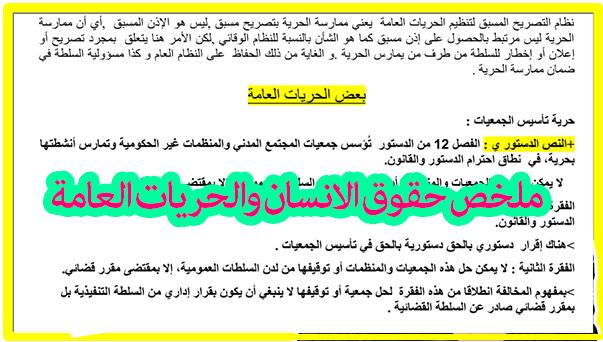 ملخص مميز لمادة حقوق الانسان والحريات العامة S4 - شعبة القانون الفصل الرابع