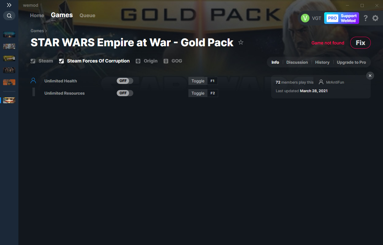 Star Wars: Empire at War - Gold Pack: Trainer (+2) from 03/28/2021 [WeMod]