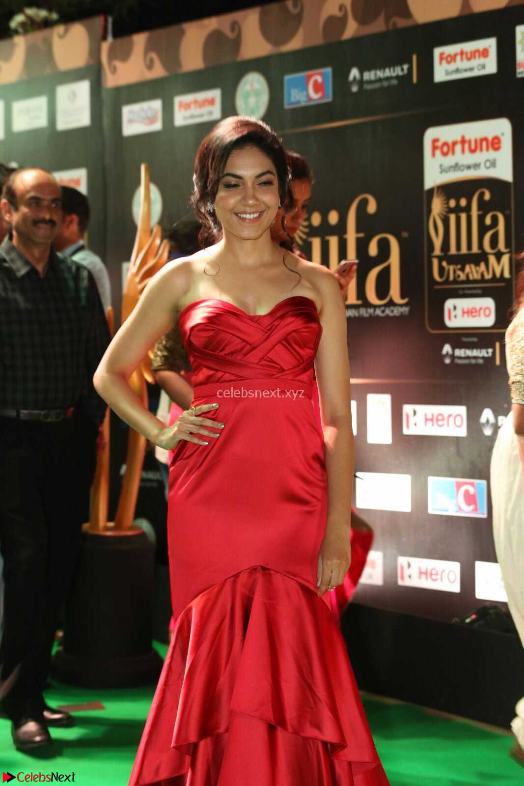 Reetu Varma smiling beauty in Deep Neck Red Gown at IIFA Utsavam Awards 2017  Day 2 CelebsNext Exclusive