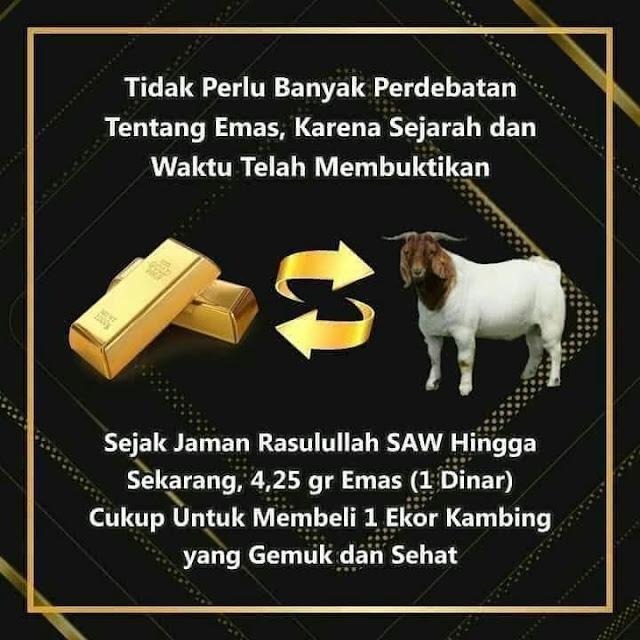 Harga kambing tidak pernah berubah karena nilai instrinsik emas