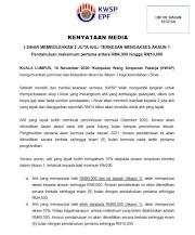 Kebenaran Pengeluaran Akaun 1 KWSP i-SINAR Bermula Disember 2020