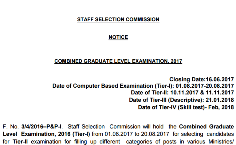 SSC CGL Notification 2017, SSC CGL 2017, SSC Graduate Level notification, SSC CGL Recruitment notification, SSC CGL Advertisement