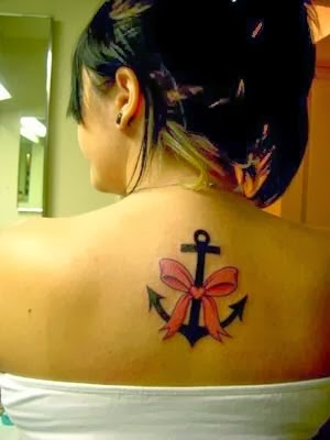 Anchor tattoos female with ribbon