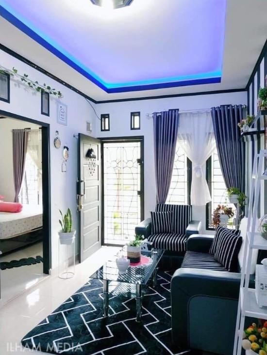 desain interior ruang tamu tema hitam putih