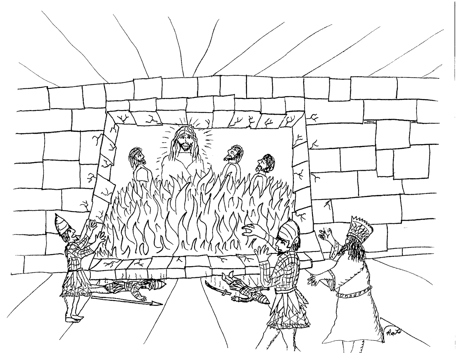 Shadrach, Meshach and Abednego in the Fiery Furnace coloring page ... | 1237x1600