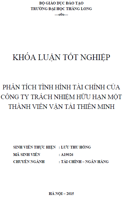 Phân tích tình hình tài chính của Công ty TNHH một thành viên Vận tải Thiên Minh