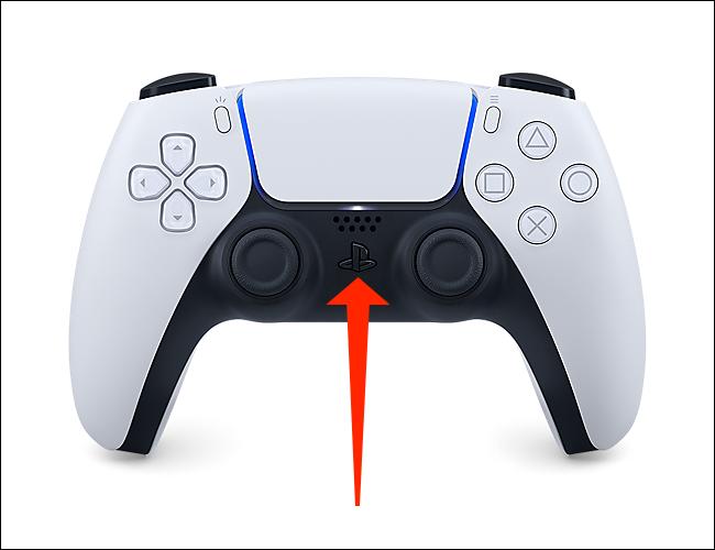 زر PlayStation في وحدة التحكم DualSense