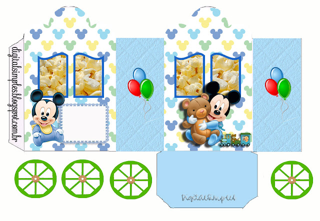 Mickey Baby with a Teddy Bear: Free Printable Princes Coach Box.
