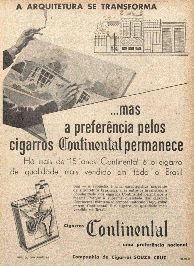 Propaganda antiga dos Cigarros Continental apresentada em 1950