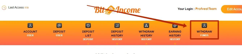 Вывод средств в BitIncome