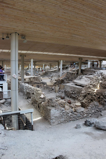 Greece, Santorini, Travel, akrotiri, ruins, house, beams, structure, layout, roof
